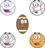 Collection of Mascots Sport Balls