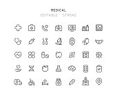 35 Collection Of Medical Line Icons Editable Stroke