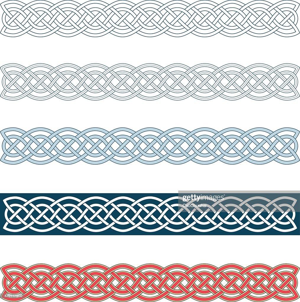 Collection of medieval Celtic knot borders