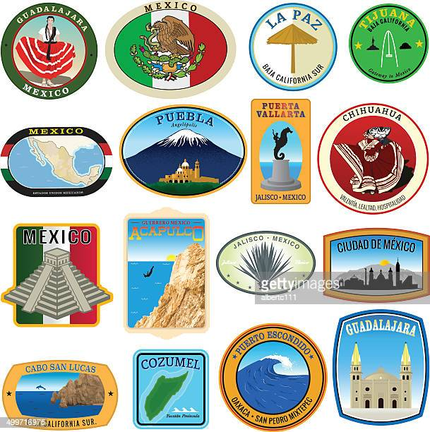 collection of mexican landmark decals - puebla state stock illustrations