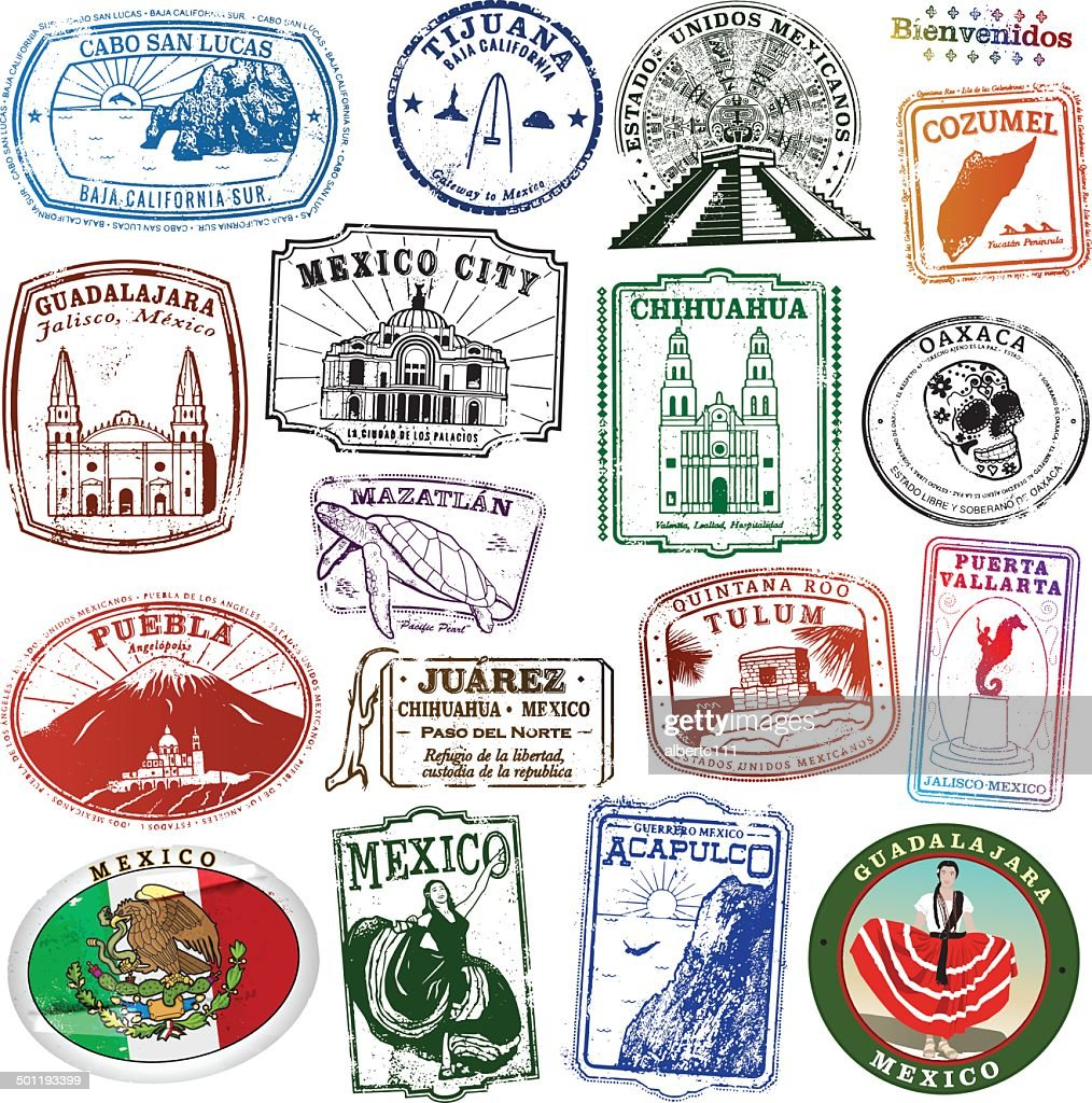 Collection of Mexican Landmark Stamps