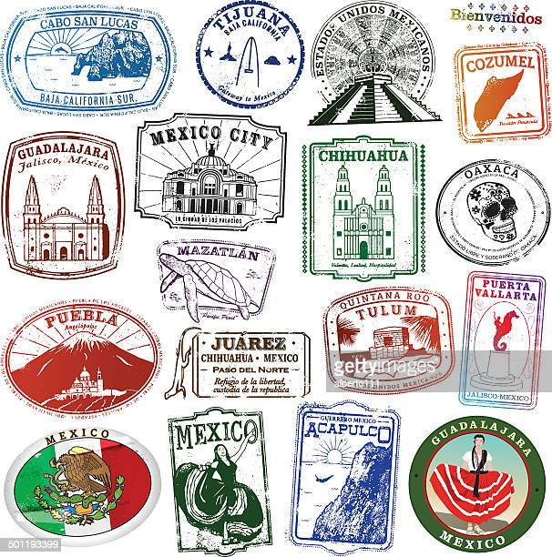 collection of mexican landmark stamps - guadalajara mexico stock illustrations