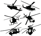 Collection of military transport and combat helicopters