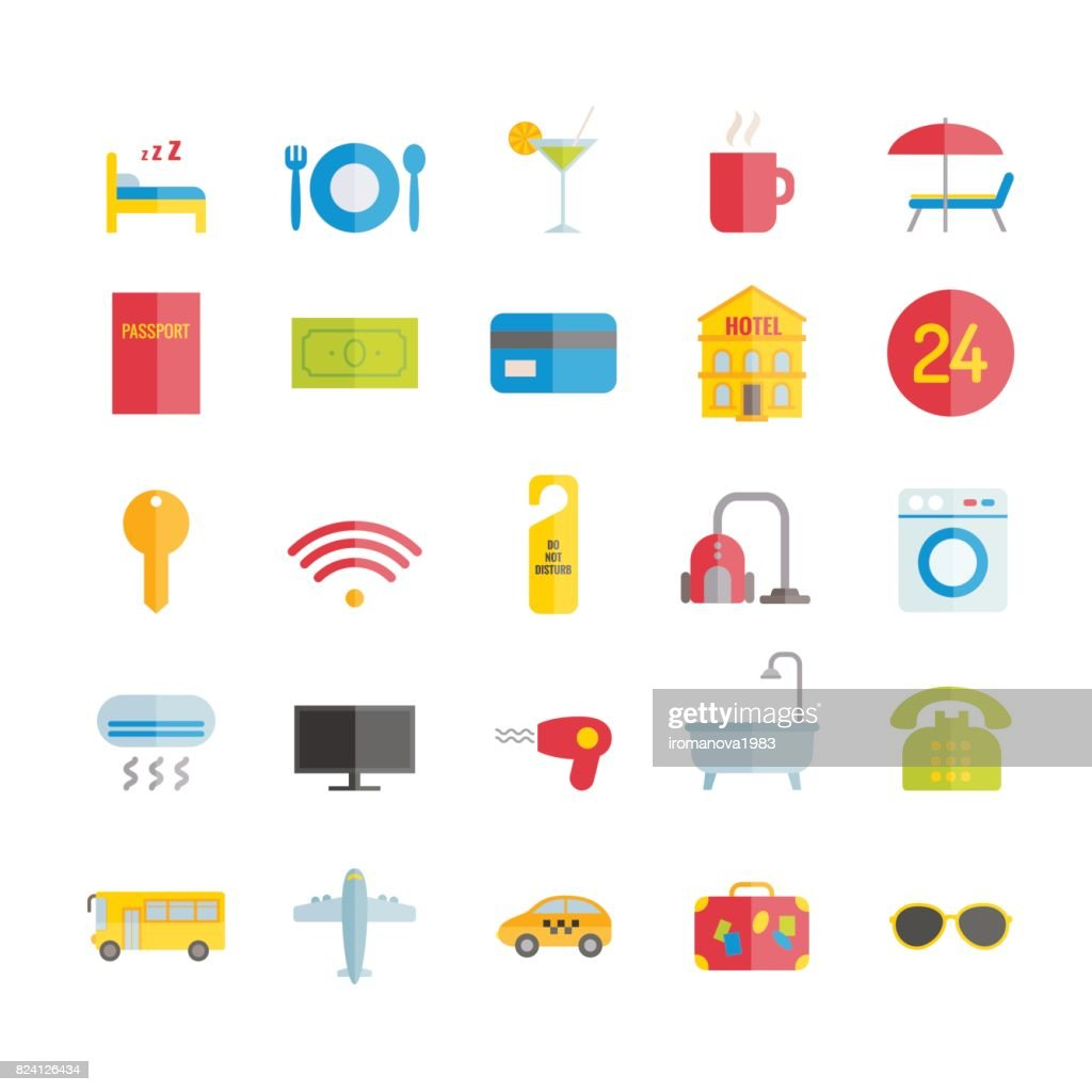 Collection of modern flat hotel and recreation icons. Vector icons for web, print, mobile apps design