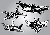 collection of modern military aircraft