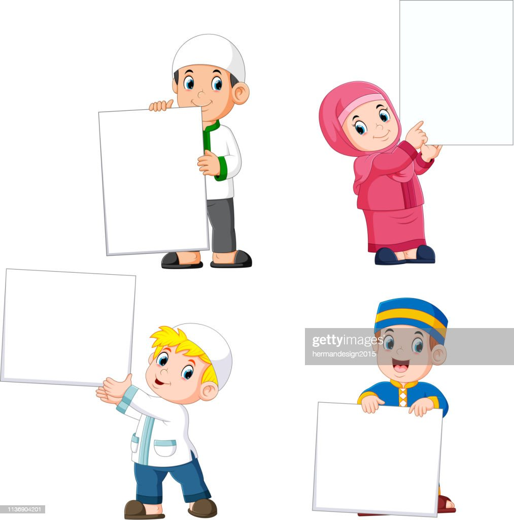 collection of moslem people holding big blank sign
