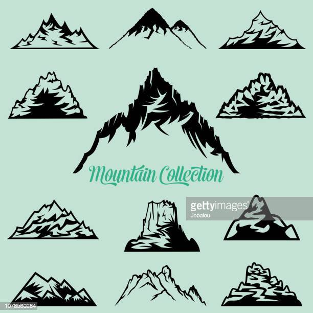 collection of mountain silhouettes clip art - clip art stock illustrations, clip art, cartoons, & icons