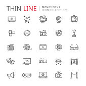 Collection of movie thin line icons