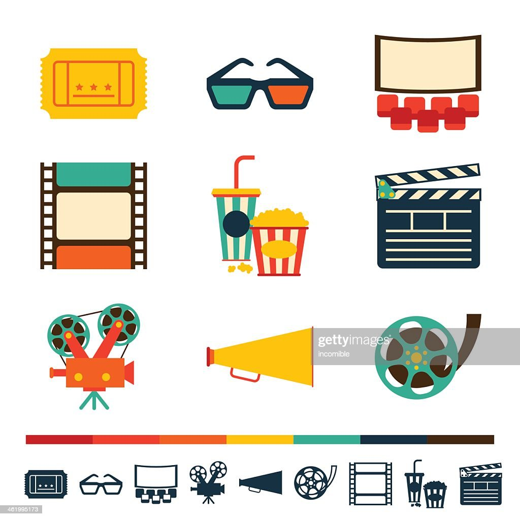 Collection of movie-themed flat icons