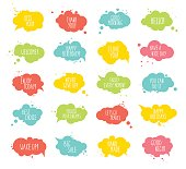 Collection of multicolored templates speech bubbles with spray, quotes.