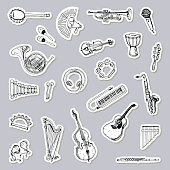 Collection of Music Instruments Stickers. Hand drawn illustration.
