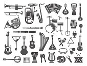 Collection of musical instruments icons