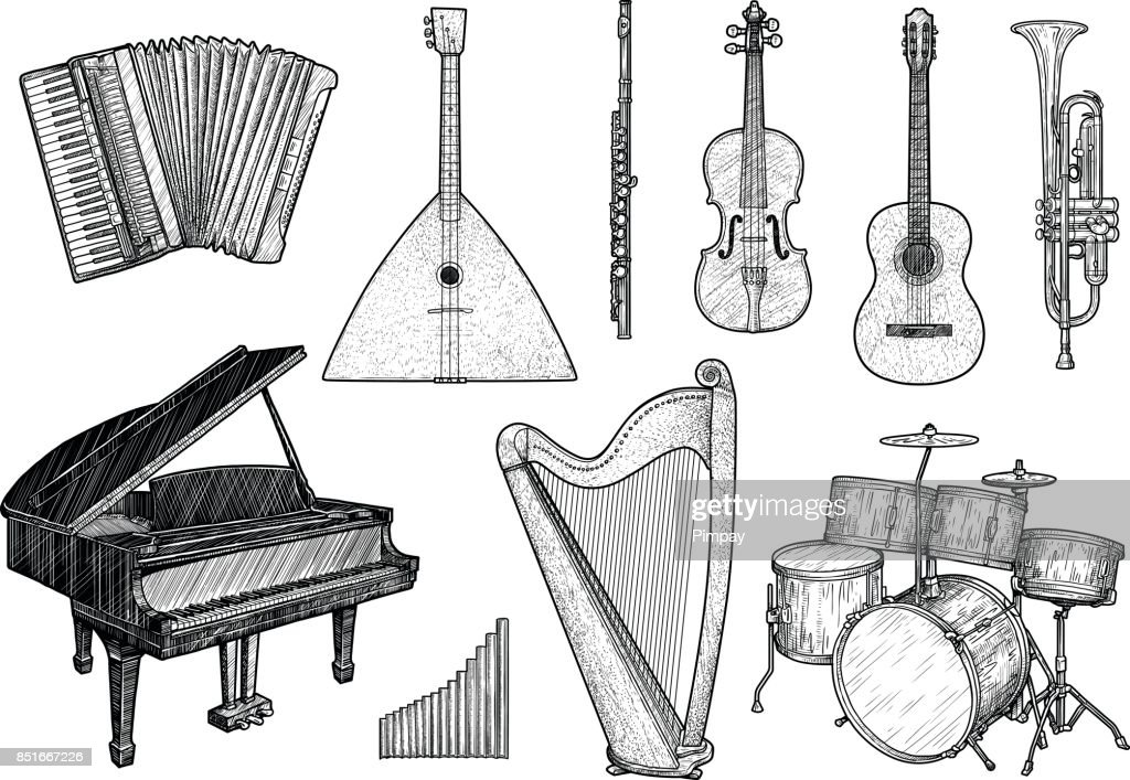 Collection of musical instruments illustration, drawing, engraving, ink, line art, vector
