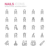Collection of nails related line icons. 48x48 Pixel Perfect. Editable stroke