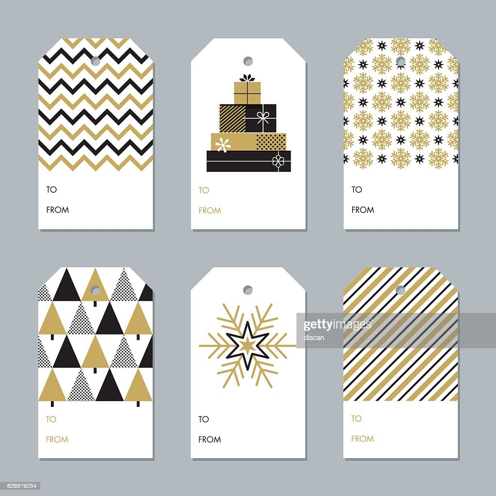 Collection of New Year and Christmas gift tags - Illustration : Stock-Illustration