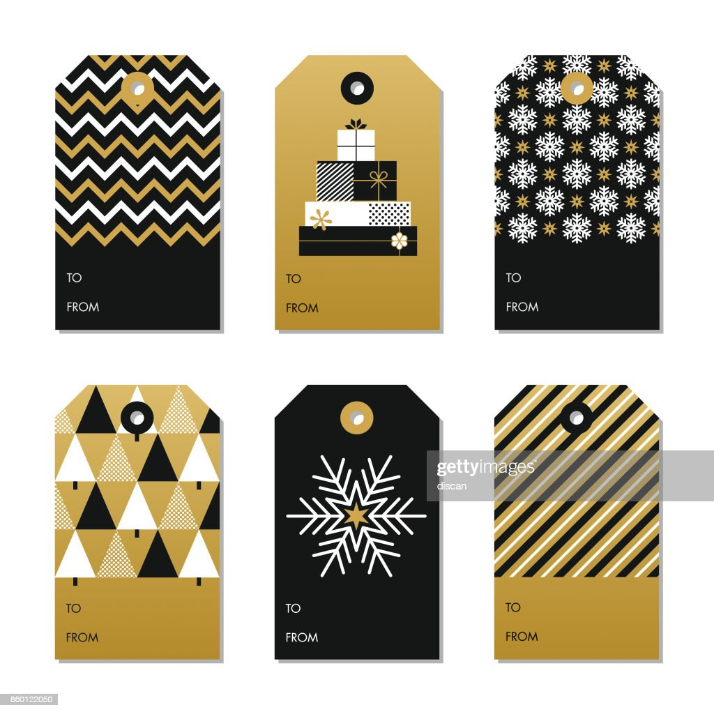 Collection of New Year and Christmas gift tags. : stock illustration