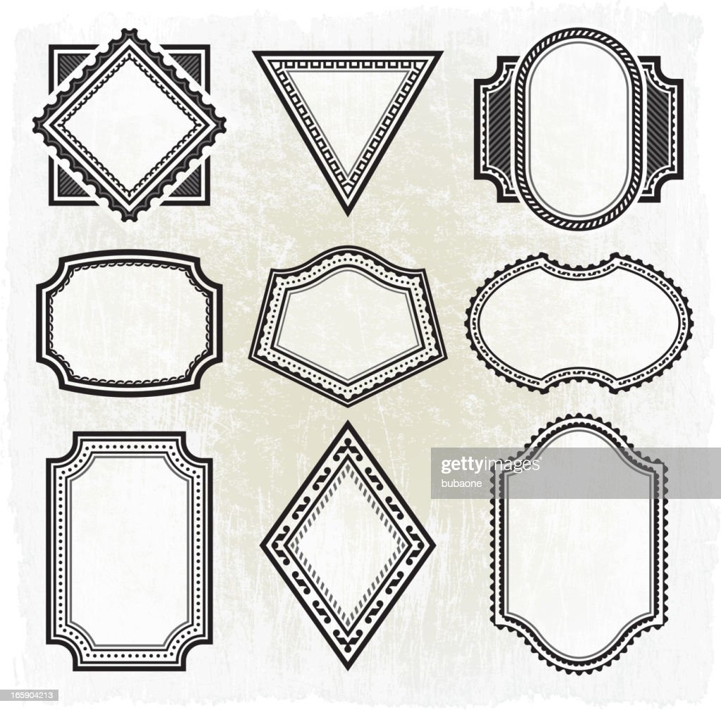 Collection Of Nine Different Black And White Grunge Frames Vector ...