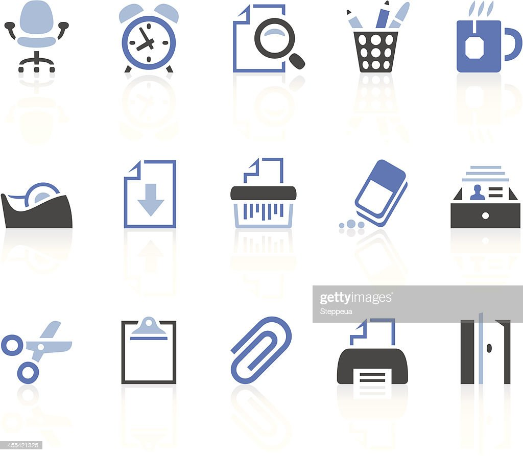 Collection of office icons in blue, gray and black