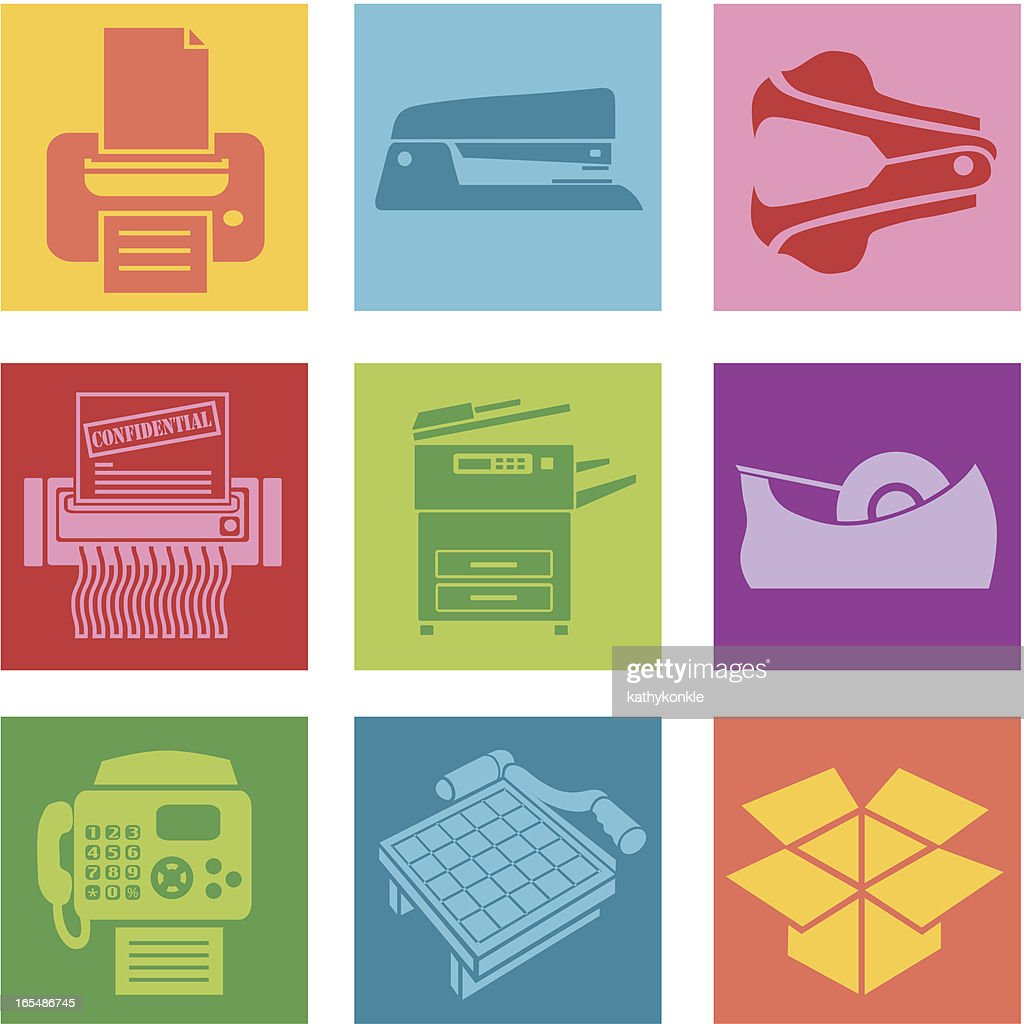 Collection of office supplies icons
