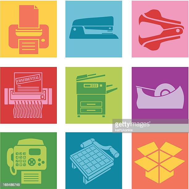 collection of office supplies icons - photocopier stock illustrations, clip art, cartoons, & icons