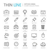 Collection of office thin line icons