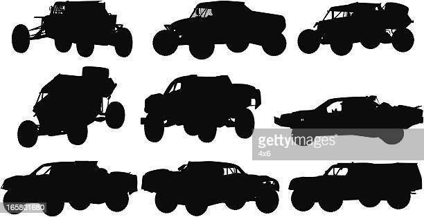 collection of offroad racing trucks - image technique stock illustrations