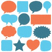 Collection of orange and blue speech bubbles