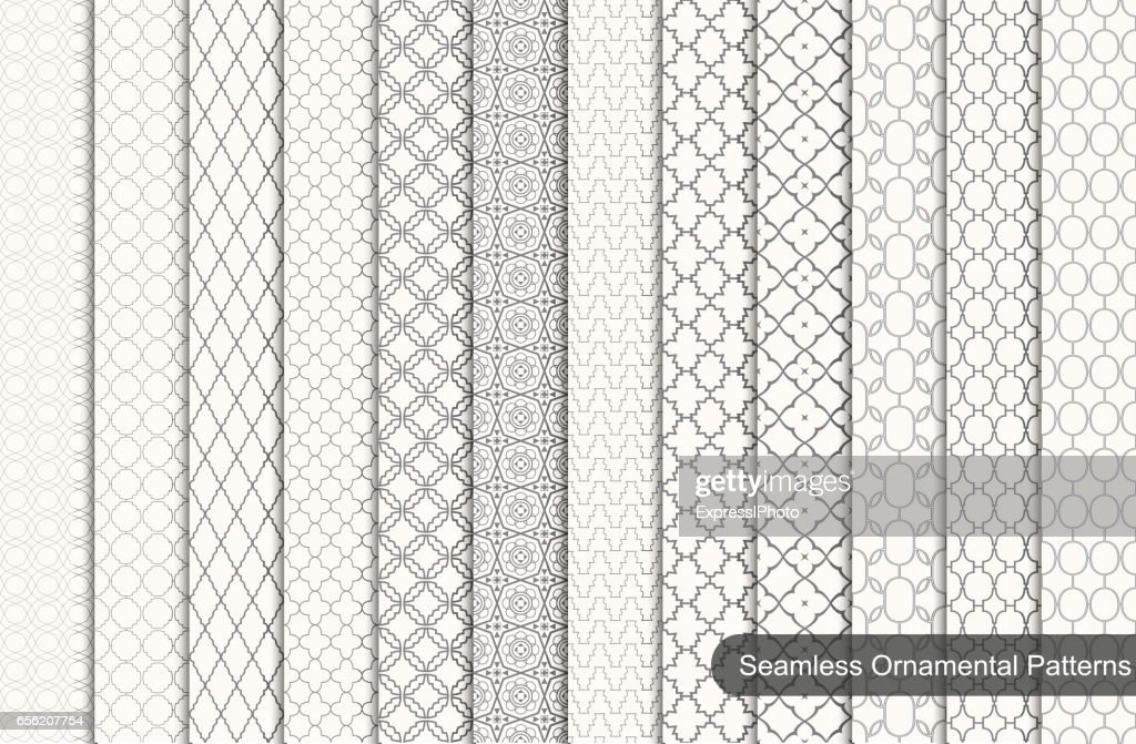 Collection of ornamental seamless patterns.
