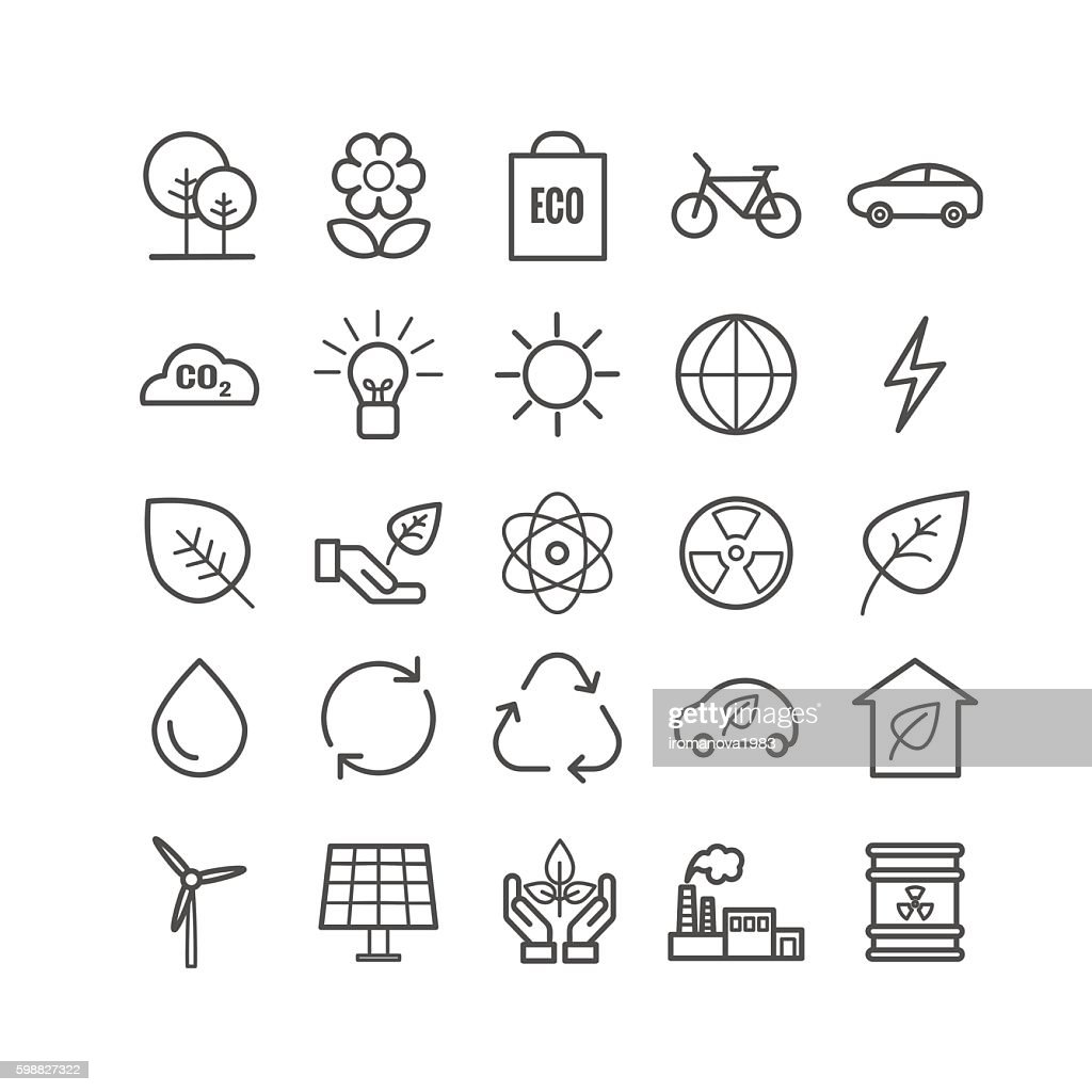 Collection of outline ecology icons