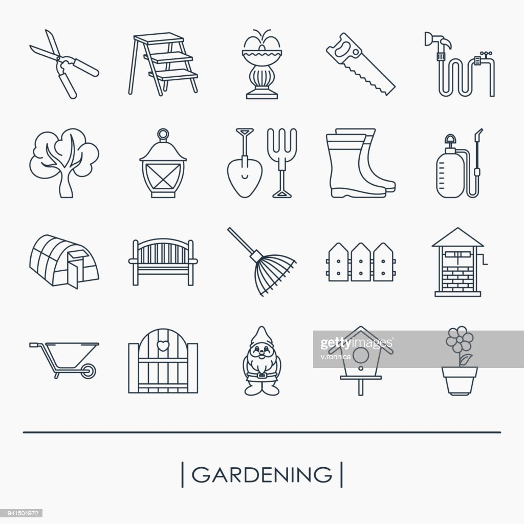 Collection of outline gardening icons