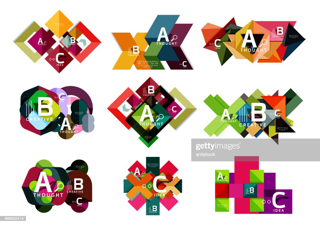 Collection of paper geometric infographics, a b c process options, presentation layouts