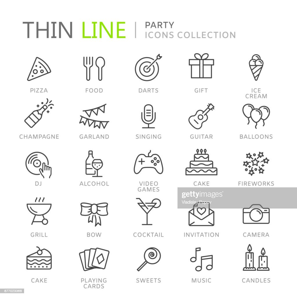 Collection of party thin line icons