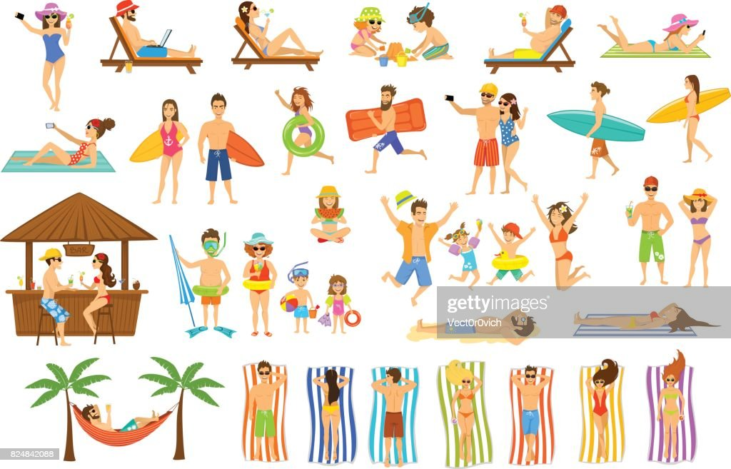 Collection of people having fun on summer vacations.