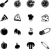 Collection of pizza related icons and ingredients