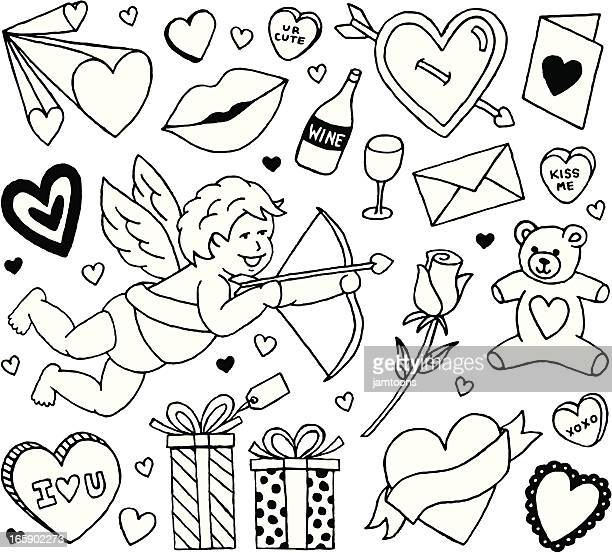collection of plain black line valentine themed icons - i love you stock illustrations