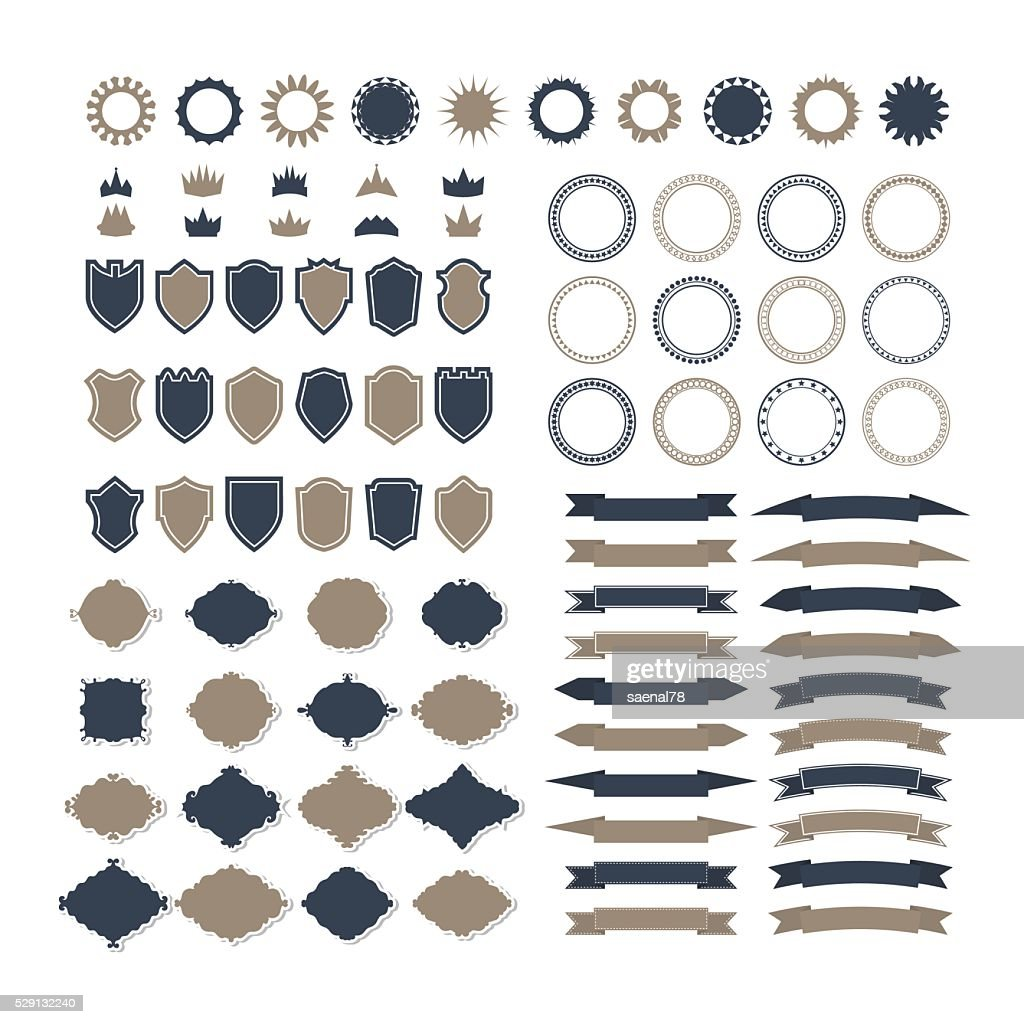Collection of premium design elements. Set of ribbons