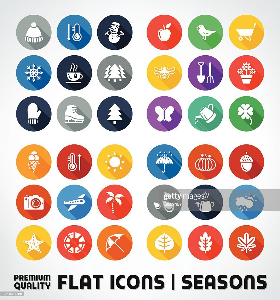 Collection Of Premium Quality Flat Icons With All Seasons