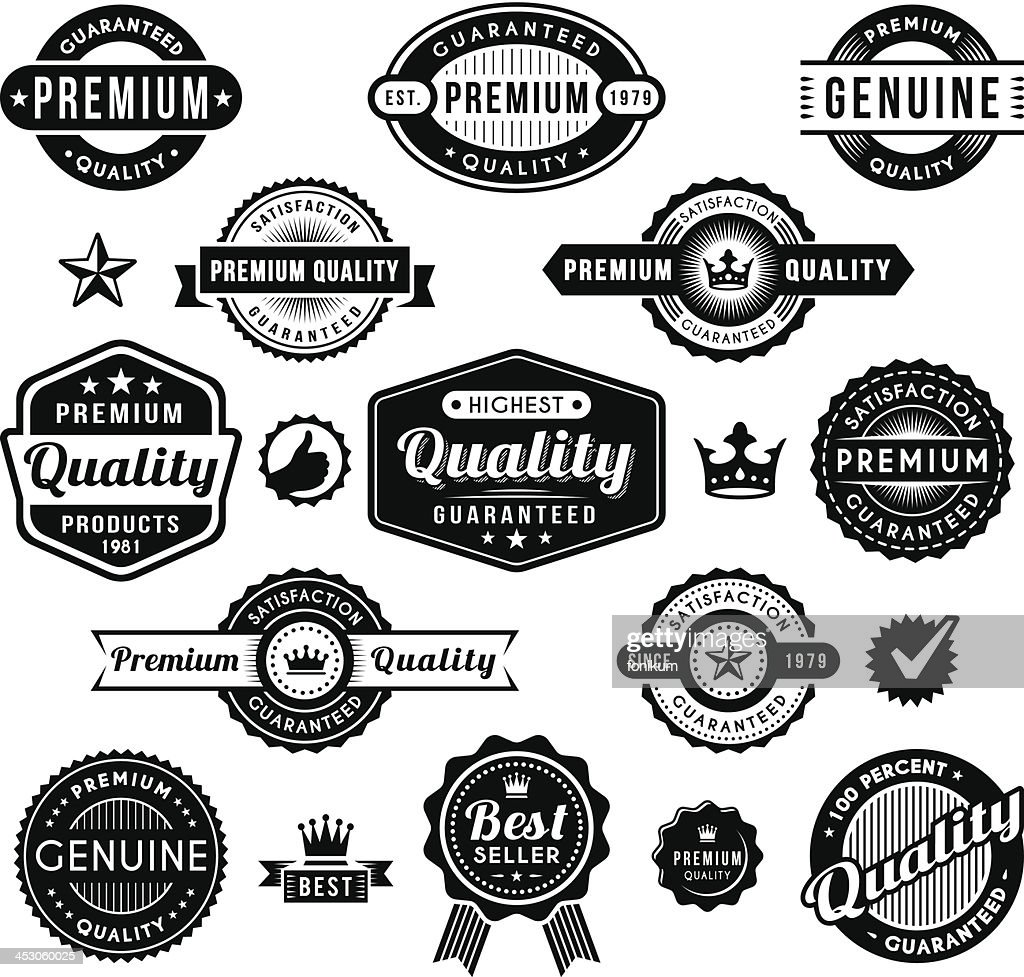 A collection of premium quality related labels
