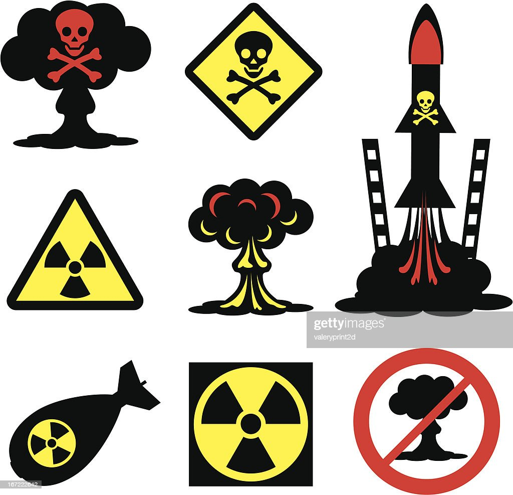Collection of radiation hazard icons