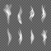 Collection of realistic white smoke on transparent background. Vector.