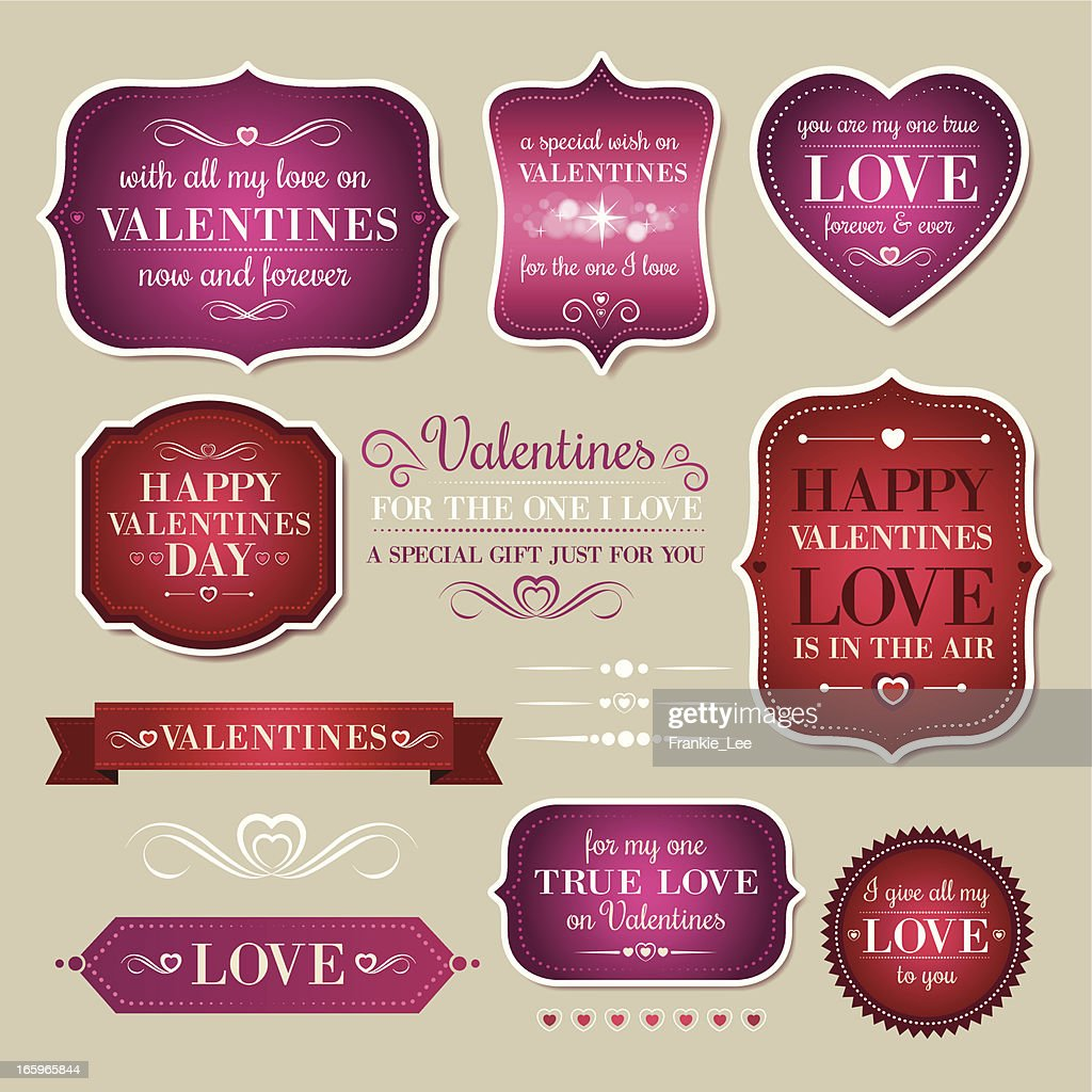 A collection of red and pink valentines designs : Vector Art