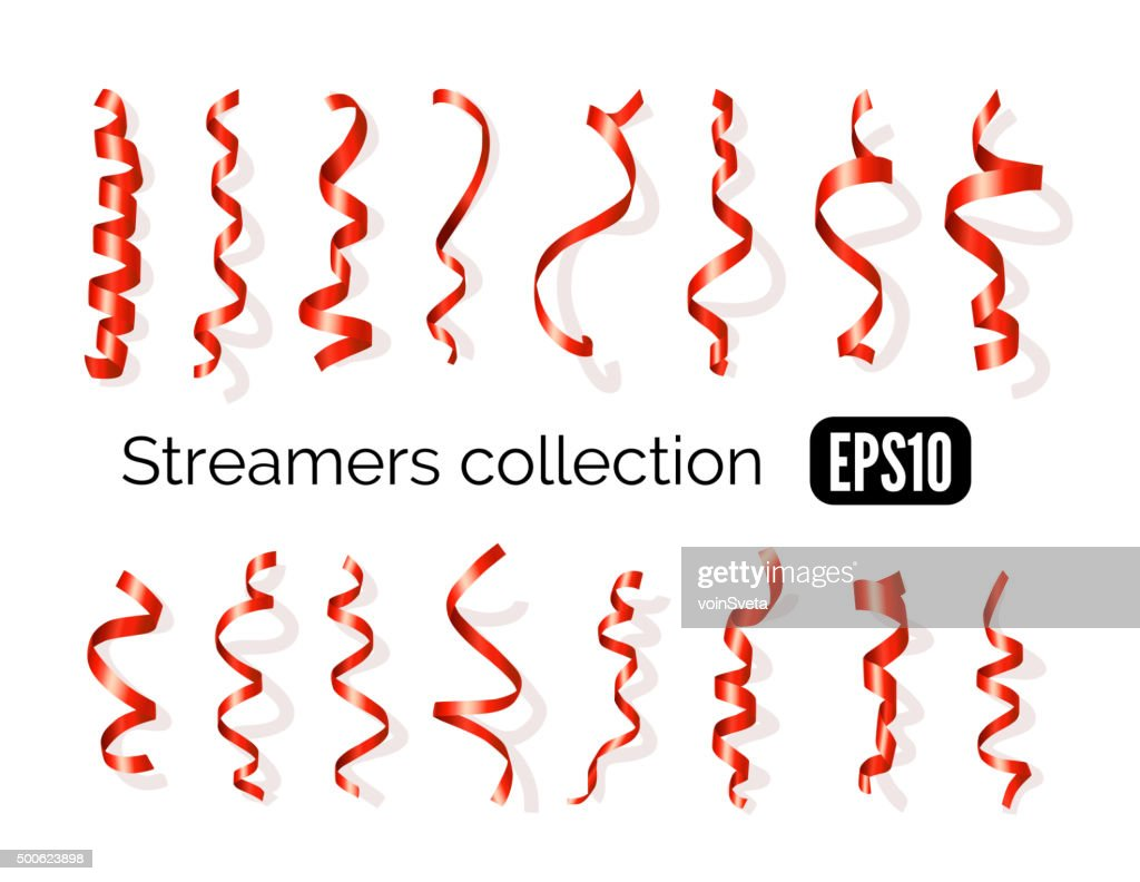 Collection of red streamers and party ribbons isolated on white