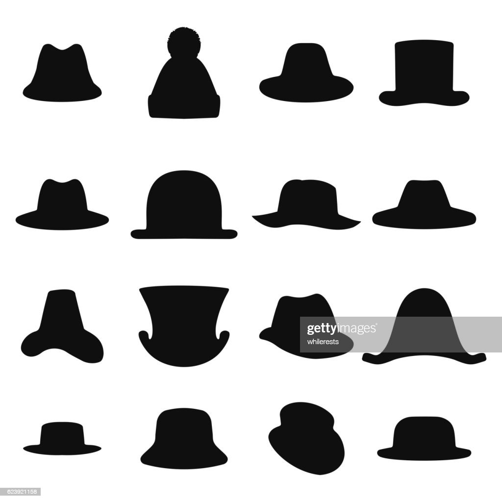 Collection of retro hats silhouette. Top hat isolated on white