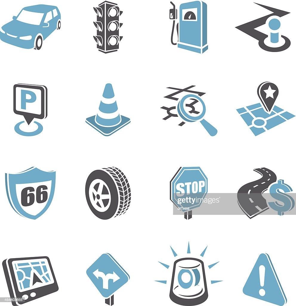 Collection of road navigation icons
