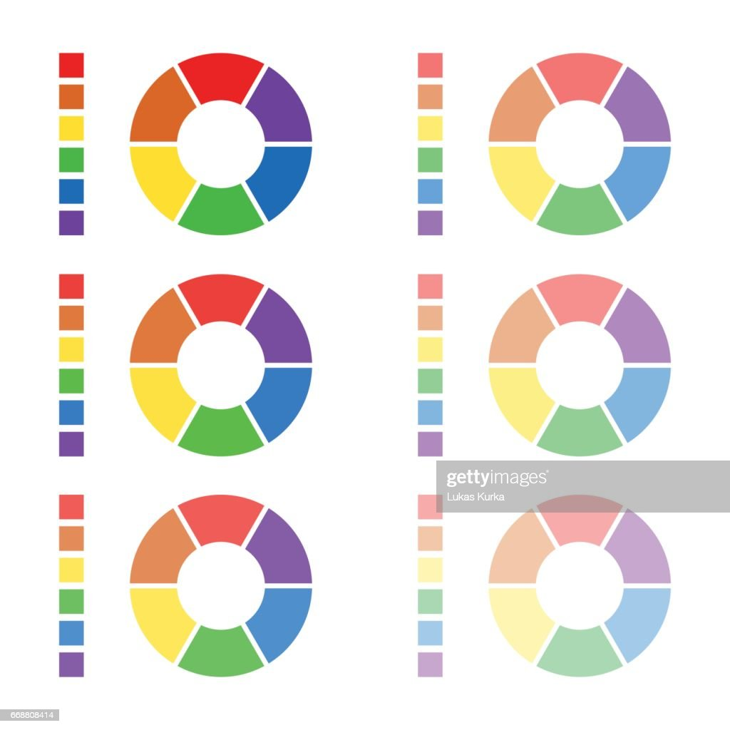 Collection of rounded diagrams with the spectral colors isolated on white background, infographic elements, circular spectrum wheels