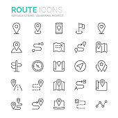 Collection of route related line icons. 48x48 Pixel Perfect. Editable stroke