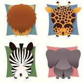 Collection of safari animals, back-sides: lion, giraffe, zebra, elephant