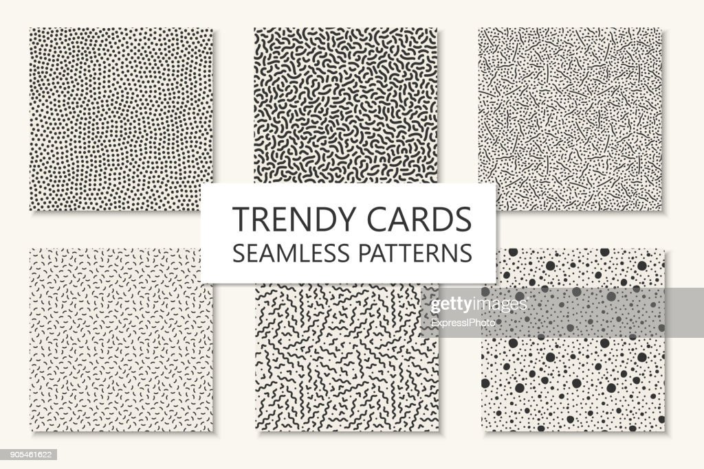 Collection of seamles trendy patterns, cards. Curved, dotted mosaic textures. Trendy repetitive design. Retro fashion style 80 - 90s.