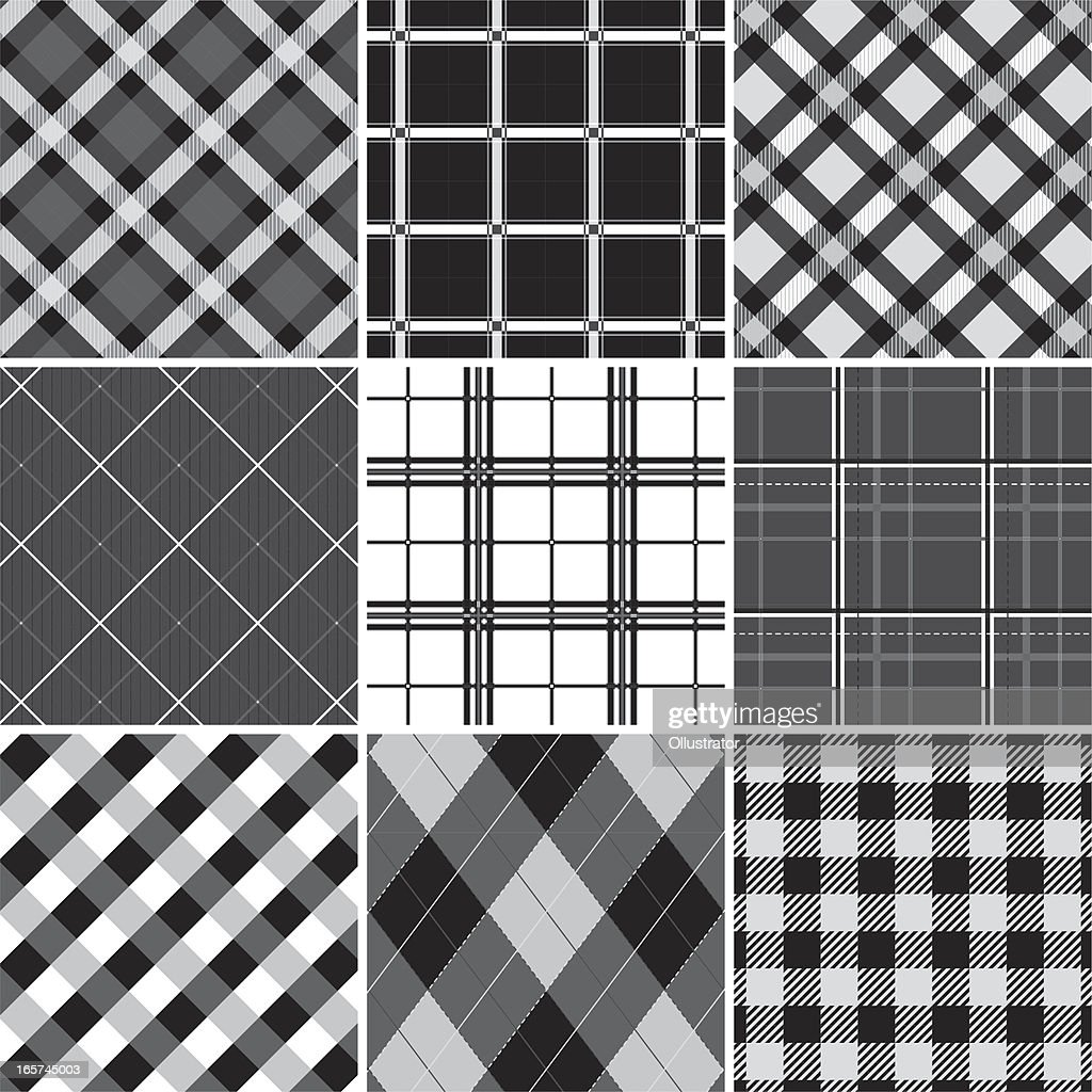 Collection of seamless black &  white checked cotton pattern