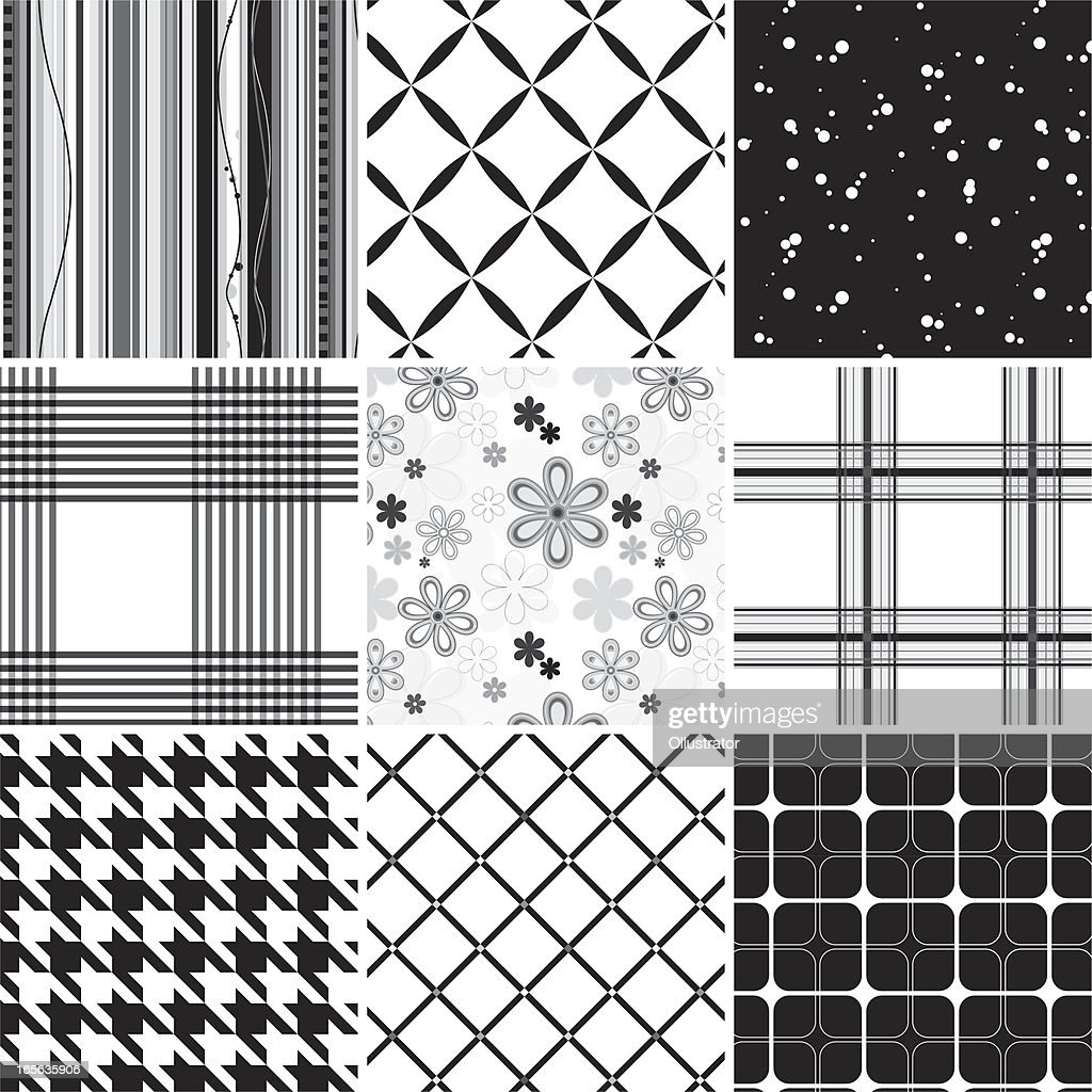 Collection of seamless black & white pattern